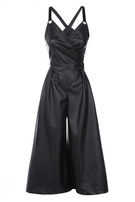 Jumpsuit eco-leather black