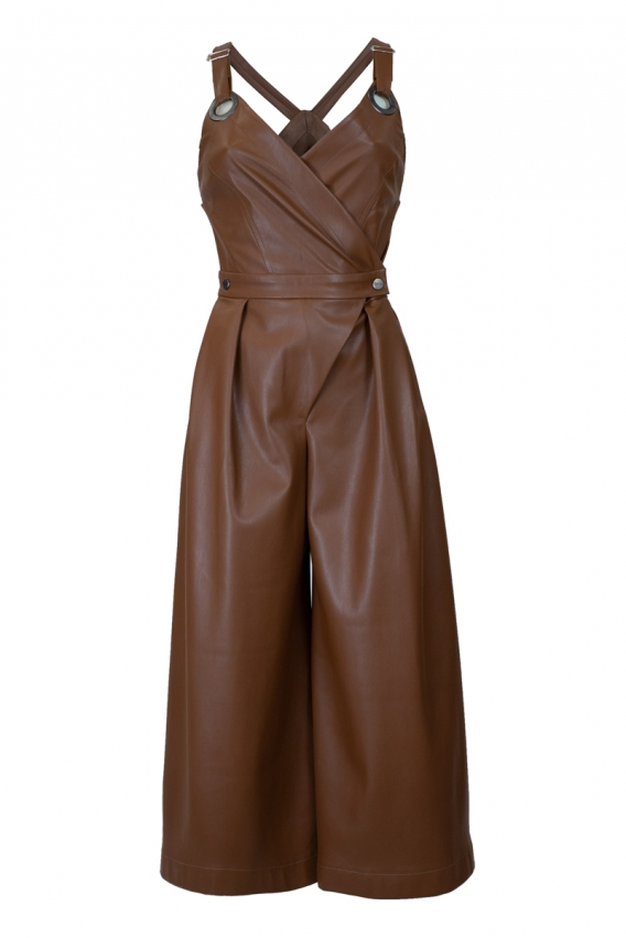 Jumpsuit eco-leather brown