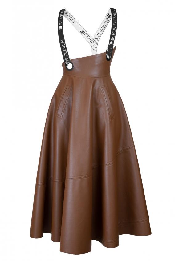 Eco leather suspender midi skirt