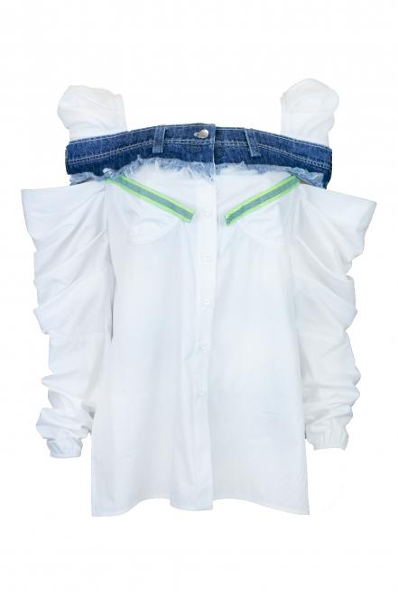 Denim embellished blouse