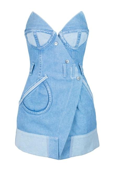 Mini wrap denim dress