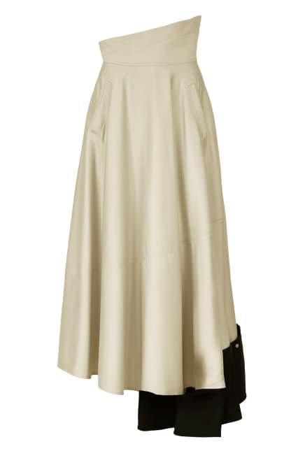 Flared midi beige skirt