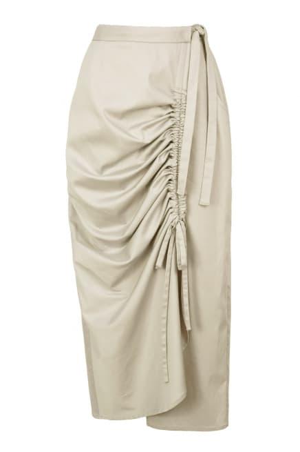 Wrap maxi beige skirt