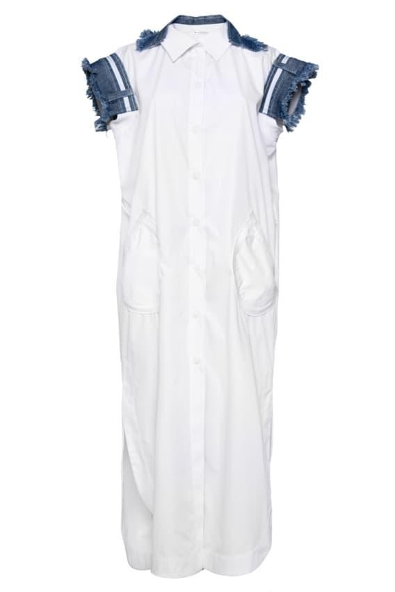 White maxi dress with denim decor
