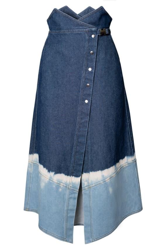 Brassica wrap denim skirt