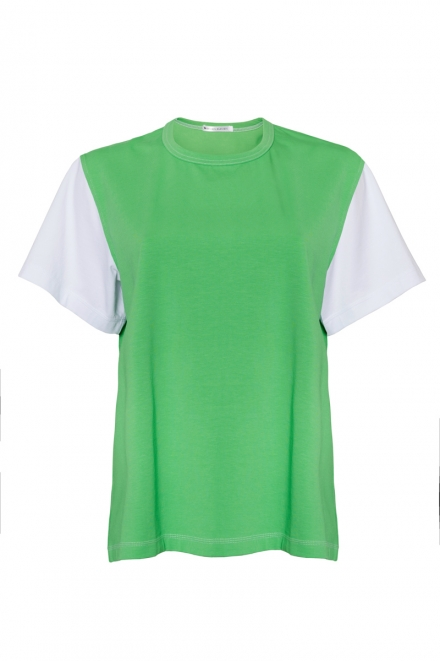 White T-shirt with green sleeves