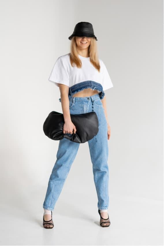Crop T-shirt with denim belt