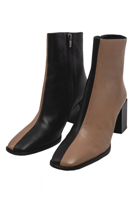 Ankle boots black-beige