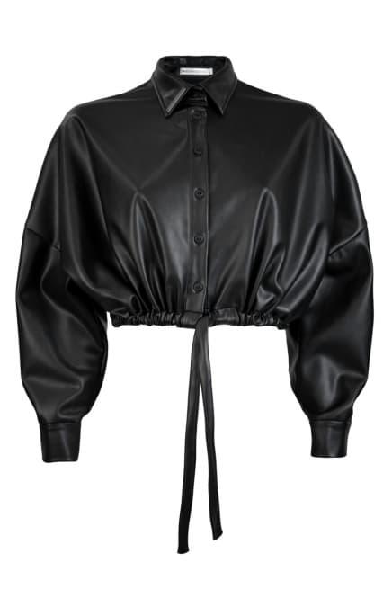 Cropped ecoleather jacket